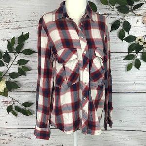 Zara Size M Flannel Red Blue White Oversize top